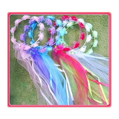 Ribbon Wrapped Fantasy Flower Halo w Trailers