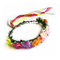 Wrapped Floral Halo Headpiece Multicolor w Trailers