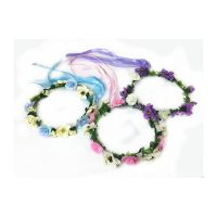 Wrapped Floral Halo Headpiece w Ribbon Trailers