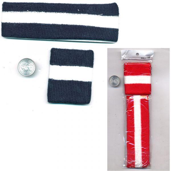 Striped Elastic Headband Wristband set