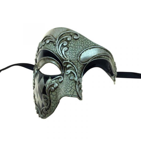 Silver Costume Venetian Man Phantom Face Mask