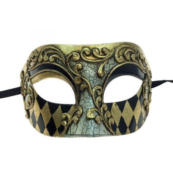 Gold Venetian Man Half Mask