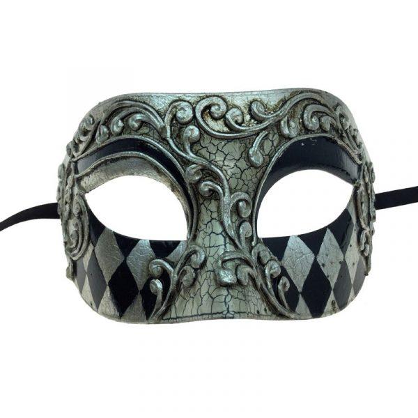 Silver Venetian Man Half Mask