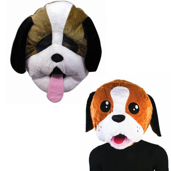 Brown and white dog mascot masks