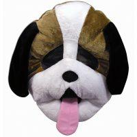Plush Giant Brown White Dog Mascot Mask