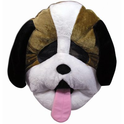 Plush Giant Brown White Dog Mascot Mask