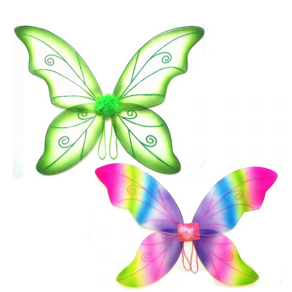 24 Inch Costume Double Layer Nylon Wings w Glitter