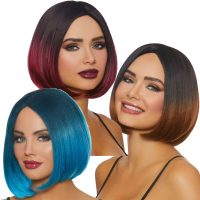 Ombre Bob Wigs Brunette Black Steel Blue