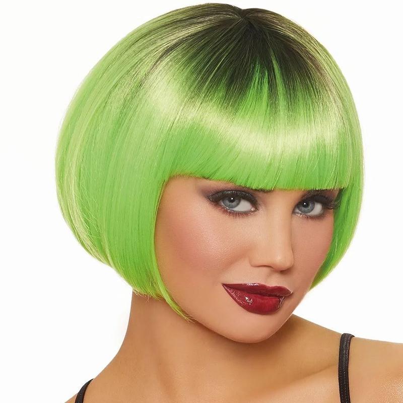 Short Dip Dyed Neon Green N Black Bob Wig W Bangs