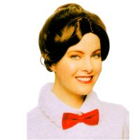 British Nanny - brown wig with bun style