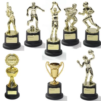 Small Plastic Trophy Gold Metallic Figure Black Base