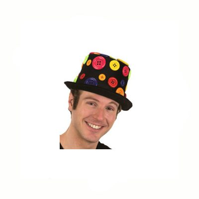 Black Fabric Top hat with Multi Buttons