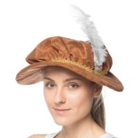 Weathered Fabric Renaissance Hat w Feather