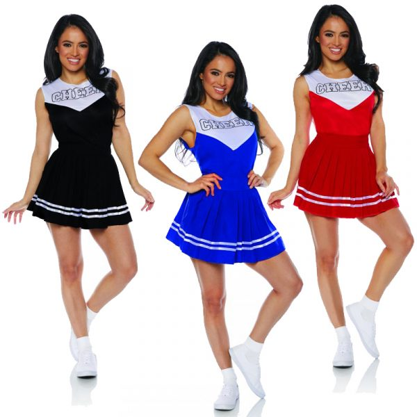 Adult Cheerleader Costume - Red Blue or Black