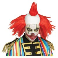Red Twisted Clown Wig and Forehead