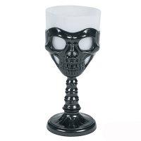 Plastic Skeleton Goblet Drinking Glass Black White