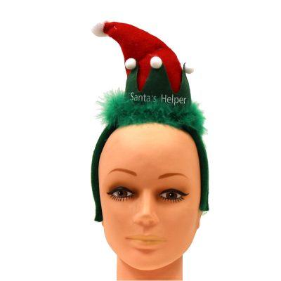 Santa's Helper Headband Hat Red Green White