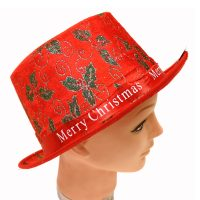 Merry Christmas Fabric Top Hat w Holly Design