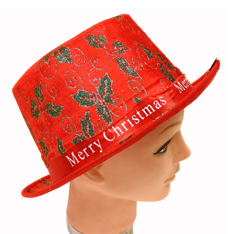 Christmas Top Hat.Merry Christmas Fabric Top Hat W Holly Design Cappel S