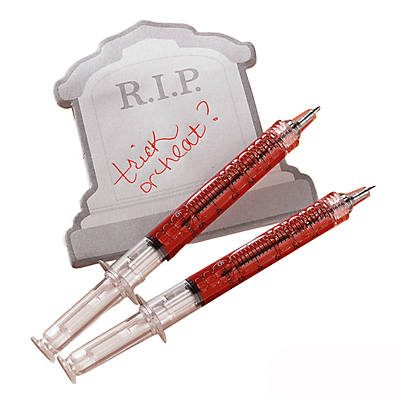 Novelty Plastic Syringe Pen Red Ink