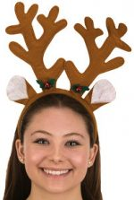 Brown Felt Reindeer Antlers w Holly Headband