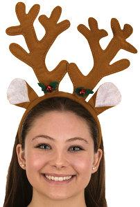 Brown Felt Reindeer Antlers w Holly Headband