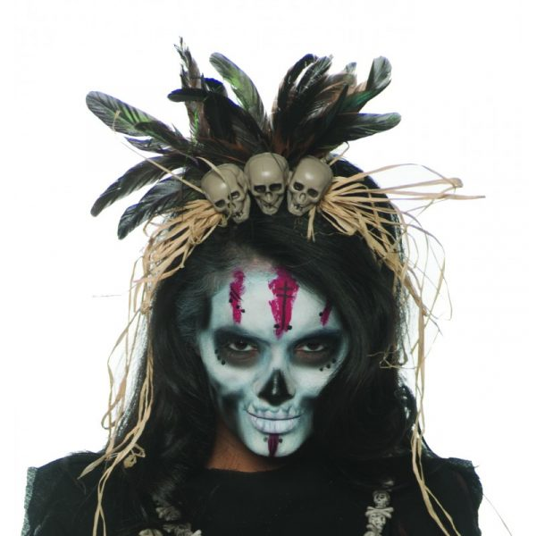 Costume Witch Doctor Headband w Skulls n Feathers