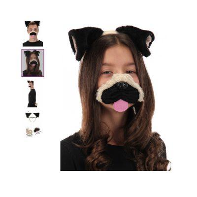 Costume Plush Pug Dog Ears, Nose & Tail Kit