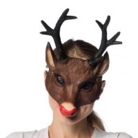 Deluxe Soft Foam Reindeer Mask with Antlers
