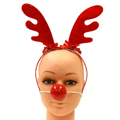 Fabric Antlers Headband n Light-up Nose Set