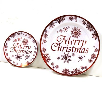 Round Plastic Merry Christmas Plates