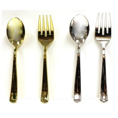 "Gold or Silver 10"" Plated Plastic Serving Spoon & Fork Set"