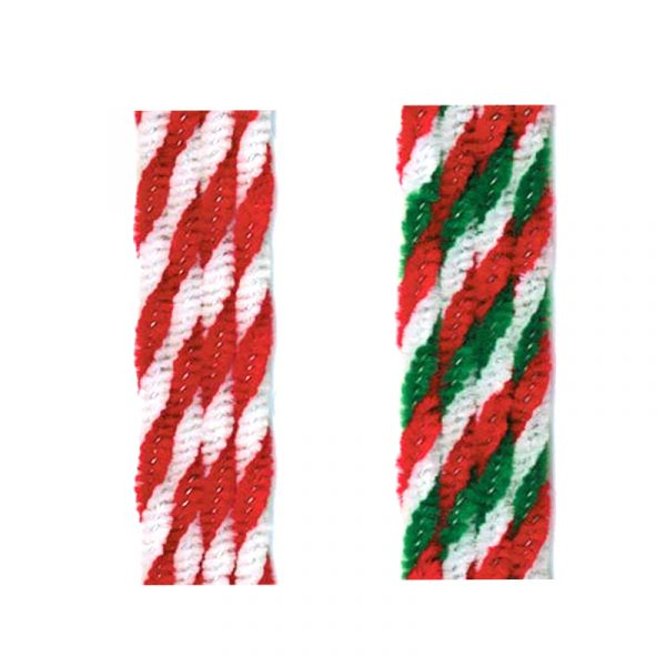 Twisted Chenille Stems, Red/White or Red/White/Green