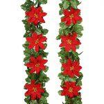 6 Foot Long Silk Poinsettia & Holly Garland