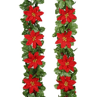 6 Foot Long Silk Poinsettia & Holly Garland