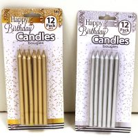 5 Inch Metallic Birthday Candles Gold or Silver