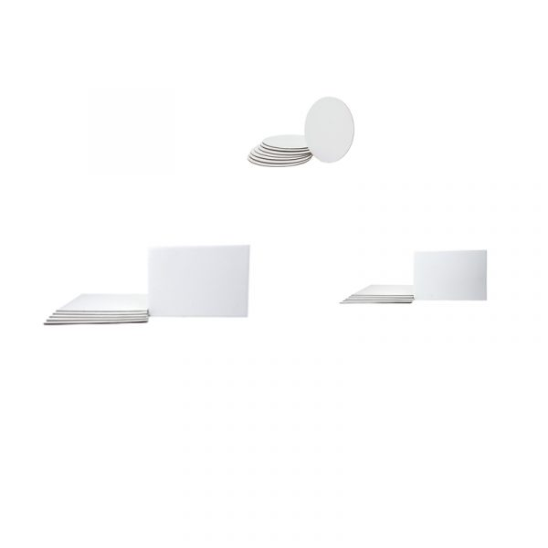 Solid White Cardboard Cake Board Circle & Rectangle