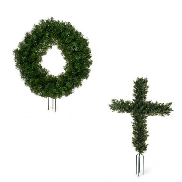 Canadian Pine Cosmos Cemetery Wreath Shapes w Spikes