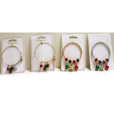 Christmas Beads Bracelet & christmas Charm Wire Bracelet