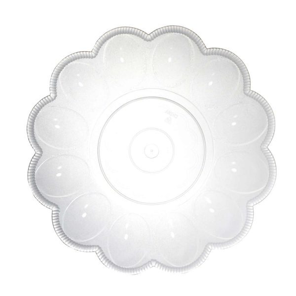 Clear Round Plastic Scalloped Egg Dish