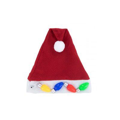 Light-up Fabric Santa Hat w Bulbs