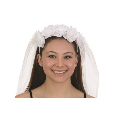 White Rose Headband with Veil