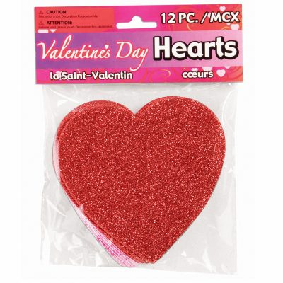 4-inch Sparkle Flat Hearts 6 Red and 6 Pink