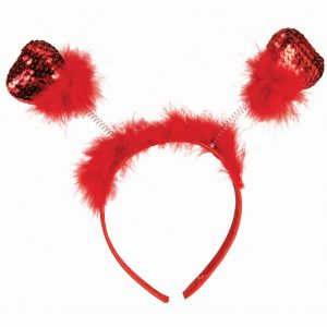 Red Sequin Feather Hearts Head Bopper