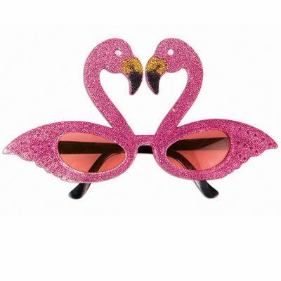 Glittered Pink Flamingo Color Lens Eyeglasses