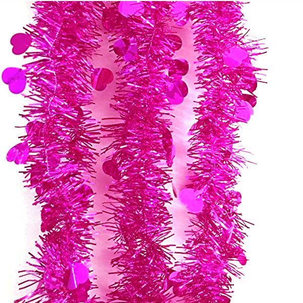 Hot Pink Metallic 9 Foot Vinyl Tinsel Garland w Hearts