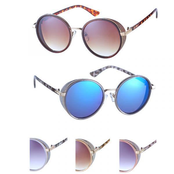 Ladies Round Glitter Edge Frame Sunglasses