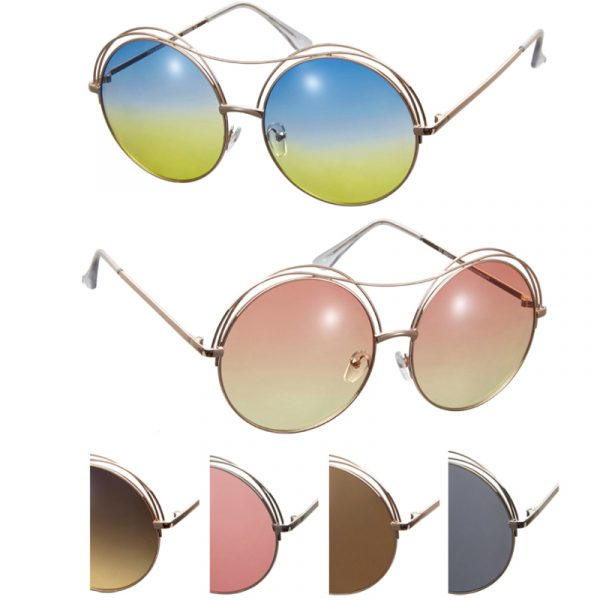 Duo Metal Large Round Frame Sunglasses
