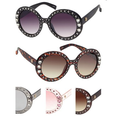 Deluxe Round Frame Sunglasses w Rhinestones