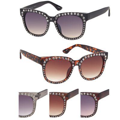 Rounded Frame Sunglasses w Rhinestones